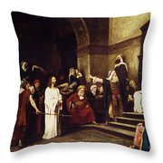 Christ Before Pilate Throw Pillow by Mihaly Munkacsy