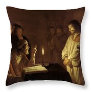 Christ Before The High Priest Throw Pillow