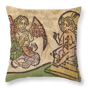 Christ Child With Three Angels Throw Pillow