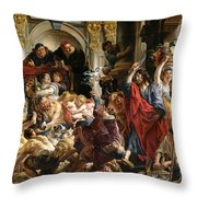 Christ Driving The Merchants From The Temple Throw Pillow
