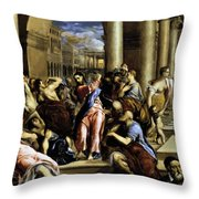 Christ Driving The Traders From The Temple 1576 Throw Pillow