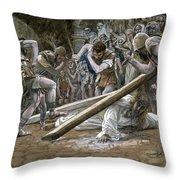 Christ Falls Beneath The Cross Throw Pillow by Tissot