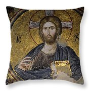Christ Holds Bible In Mosaic At Chora Church Istanbul Turkey Throw Pillow