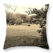 Christ In The Field Sepia Throw Pillow