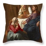 Christ In The House Of Martha And Mary Throw Pillow