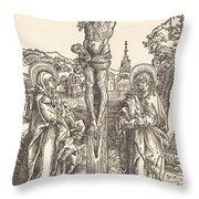 Christ On The Cross Between The Virgin And Saint John Throw Pillow