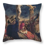 Christ On The Cross Throw Pillow by Delacroix