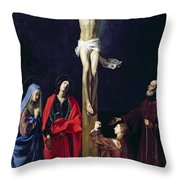 Christ On The Cross With The Virgin Mary Magdalene St John And St Francis Of Paola Throw Pillow by Nicolas Tournier