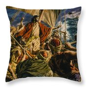 Christ On The Sea Of Galilee Throw Pillow by Jack Hayes