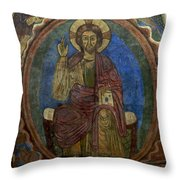 Christ Pantocrator Fresco. Basilica Saint-julien. Brioude. Haute Loire. Auvergne. France. Throw Pillow by Bernard Jaubert