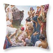 Christ Preaching From The Boat Throw Pillow
