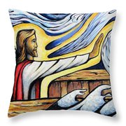Christ Rebukes The Wind And Waves Throw Pillow