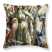 Christ Removing The Money Lenders From The Temple Throw Pillow