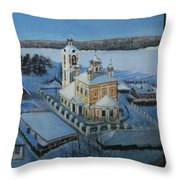 Christ Risen Church In Ples, Ivanovo Region Throw Pillow