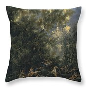 Christ Served By The Angels Throw Pillow