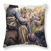 Christ Teaching Throw Pillow by English School