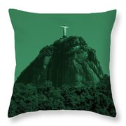 Christ The Redeemer In Green Sky Throw Pillow
