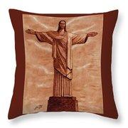 Christ The Redeemer Statue Original Coffee Painting Throw Pillow