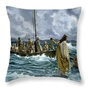 Christ Walking On The Sea Of Galilee Throw Pillow by Anonymous