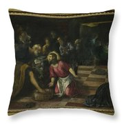 Christ Washing The Feet Of The Disciples Throw Pillow