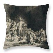 Christ With The Sick Around Him, Receiving Little Children Throw Pillow