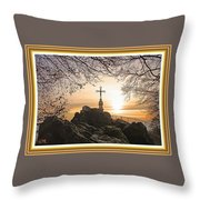 Christellerata L A S With Decorative Ornate Printed Frame. Throw Pillow