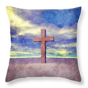 Christian Cross Landscape Throw Pillow