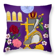 Christian Knights Of The Cross And Rose Throw Pillow