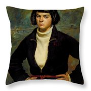 Christian Viasto - A Canal Boat Woman Throw Pillow