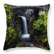 Christine Falls - Mount Rainer National Park Throw Pillow