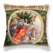Christmas Angel Label Throw Pillow