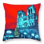 Christmas At Notre Dame Pop Art Throw Pillow
