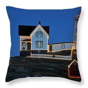 Christmas At The Nubble  Throw Pillow