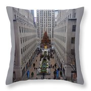 Christmas At The Rock Throw Pillow