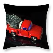 Christmas Background With Red Vintage Truck Deliver Tree On Its Back Throw Pillow