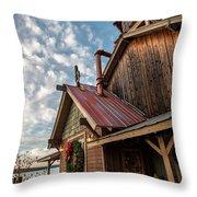 Christmas Barn On The Lake Throw Pillow