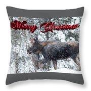 Christmas Bull Moose Throw Pillow