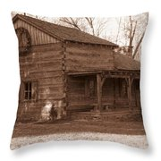 Christmas Cabin Throw Pillow