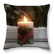 Christmas Candle Glowing On Window Sill With Snowy Evergreen Bra Throw Pillow