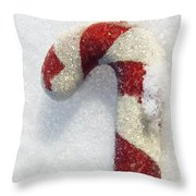 Christmas Candy Cane On Real Snow Throw Pillow