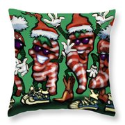Christmas Candy Peppers Gang Throw Pillow
