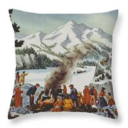 Christmas Card Depicting A Pioneer Christmas Throw Pillow