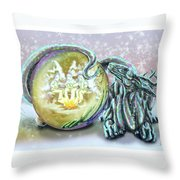 Christmas Card Dragon 2015 Throw Pillow