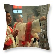 Christmas Celebration At Nativity Church Throw Pillow