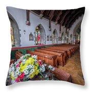 Christmas Church Flowers Throw Pillow