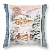 Christmas Cottage Throw Pillow