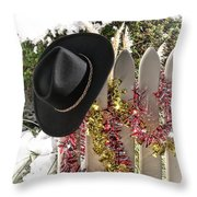 Christmas Cowboy Hat On Fence - Merry Christmas  Throw Pillow