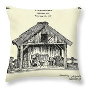 Christmas Crib-1940 Throw Pillow