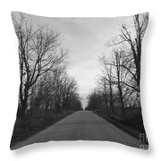 Christmas Day Country Road Throw Pillow
