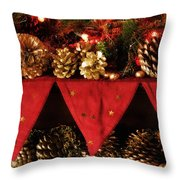 Christmas Decorations Of Garlands And Pine Cones Throw Pillow